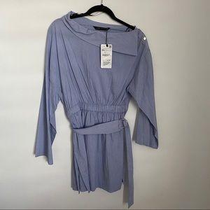 Zara Woman XSmall Stripes angle Neck Tunic Dress